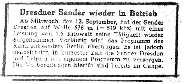 Ankündigung des Sendestarts in Dresden für den 12. september 1945