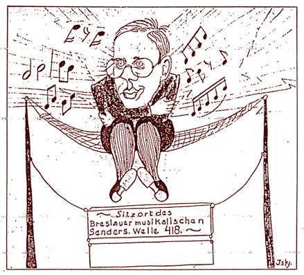 """""""Breslauer Koryphäen in der Karikatur"""" von Iwan von Jensensky """"Wie sich unser Karikaturist den unsichtbaren Vorgang des Sendens für seine begriffliche Auffasuung zurechtlegt. Dr. Edmund Nick, der musikalische Hausgeist der Schlesischen Funkstunde"""" Aus: """"Schlesische Theater- und Musik-Woche"""" Nr-16 von 1924"""