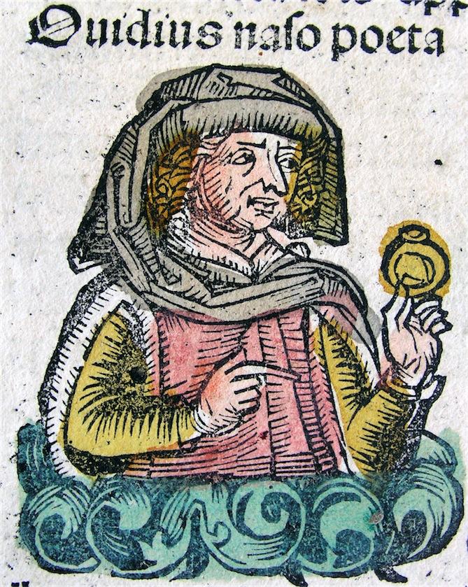Publius Ovidius Naso. Holzschnitt aus der Schedel'schen Weltchronik, Nürnberg 1493