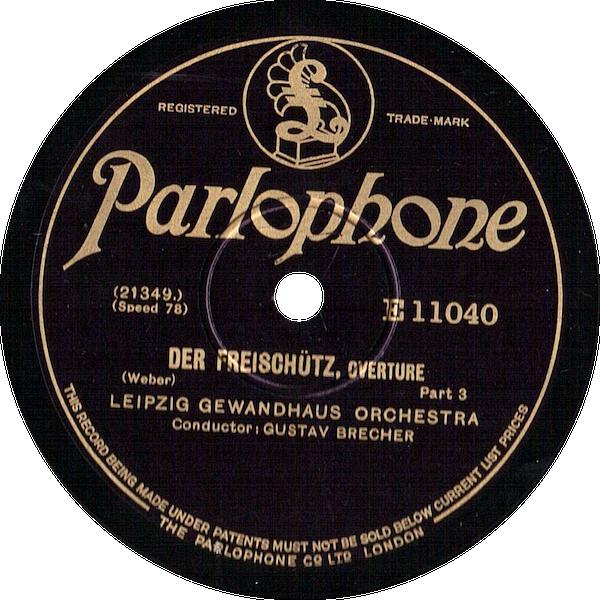 """Das englische Parlophone-Label mit dem """"Leipzig Gewand- haus Orchestra"""""""
