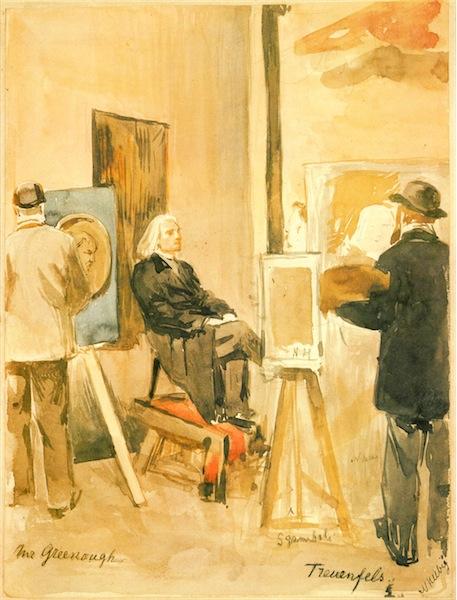 Franz Liszt sitzt biLDenDen KünstLern in rom moDeLL aquarell von Nadine Helbig, 1880