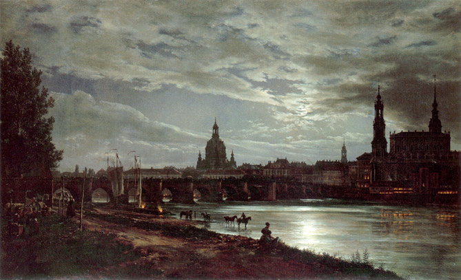 Dresden-Johann-Christian-Clausen-Dahl-Blick-auf-Dresden-bei-Vollmondschein