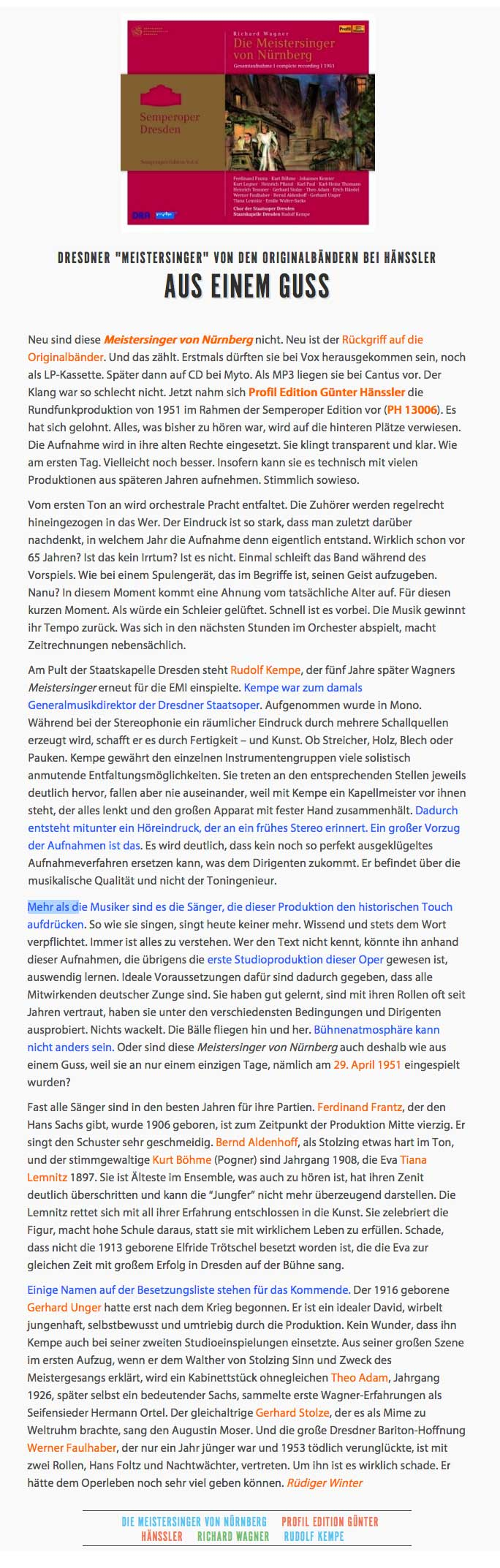 CD Kritik Meistersinger-Kempe-Operalounge
